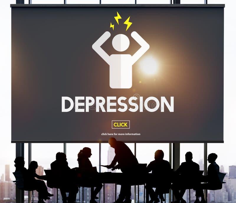 Conceito da doença da desordem do esforço da dor de cabeça da depressão imagens de stock