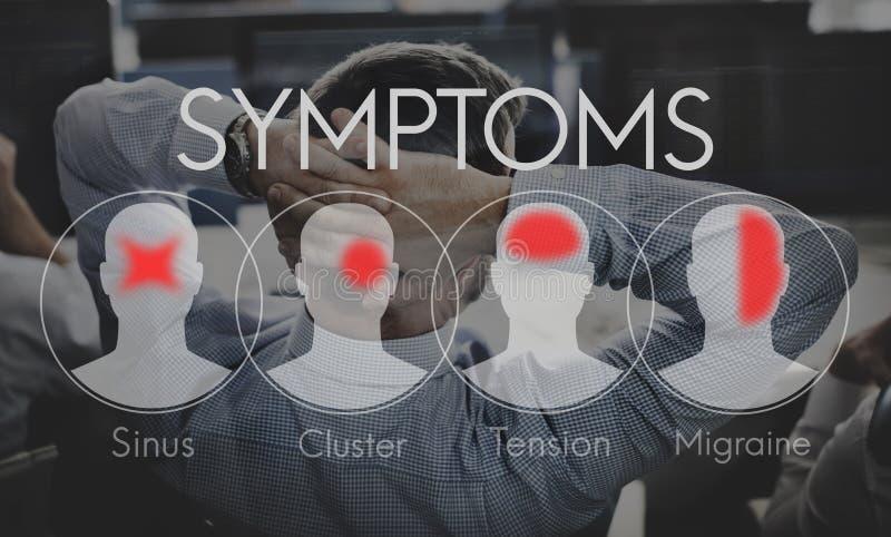 Conceito da dor de cabeça dos cuidados médicos da doença da doença dos sintomas fotografia de stock