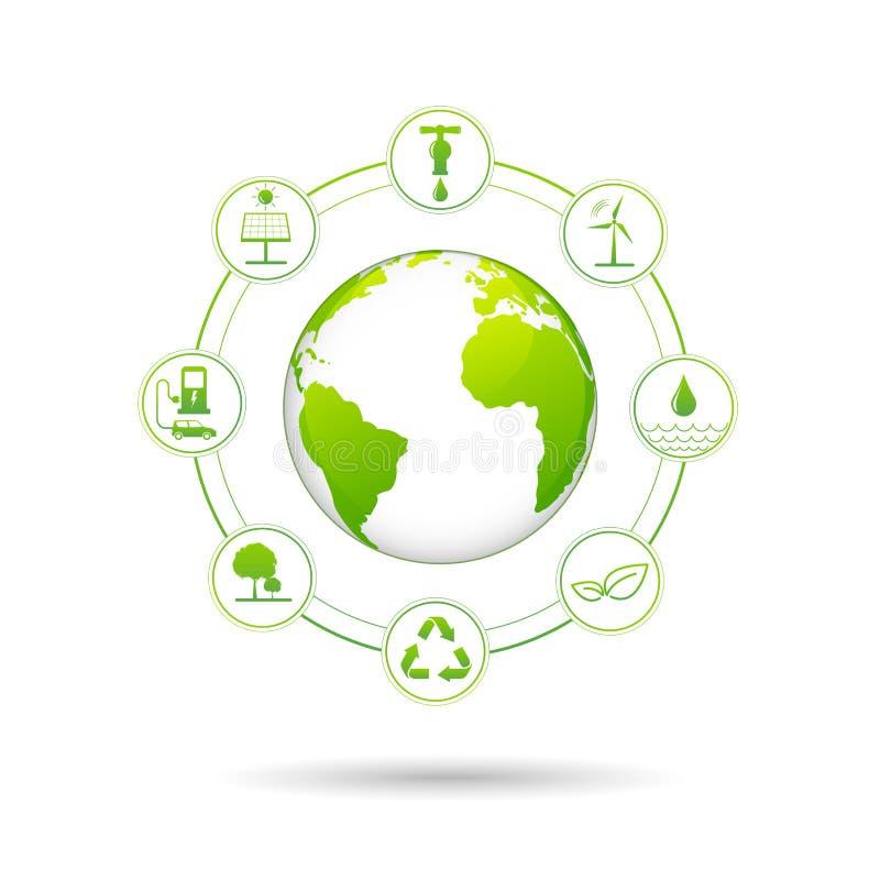 Conceito da ecologia com ícones da energia renovável para o dia de ambiente de mundo e o conceito do desenvolvimento sustentável ilustração royalty free