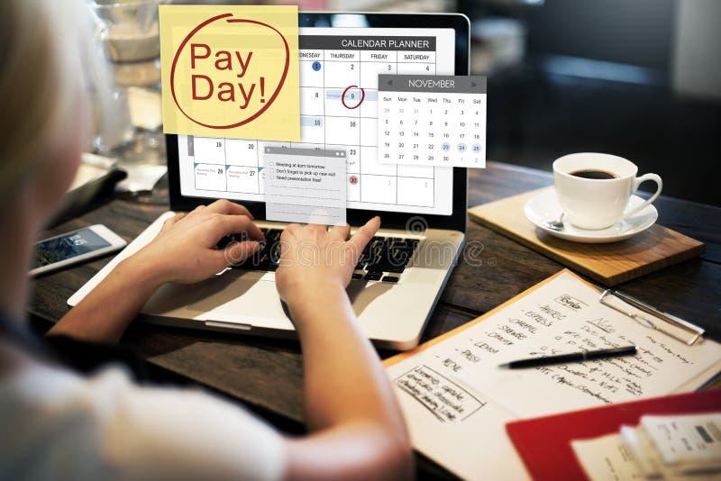 Conceito da economia de orçamento da operação bancária da contabilidade do dia de pagamento fotografia de stock