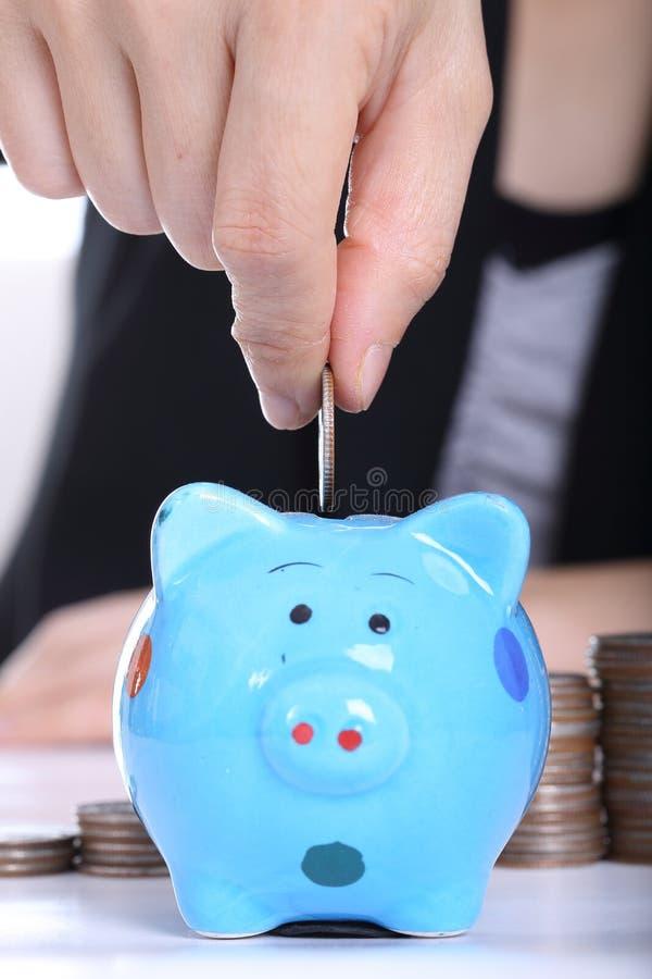 Conceito da economia do dinheiro com a inserção leitão e da moeda fotos de stock royalty free