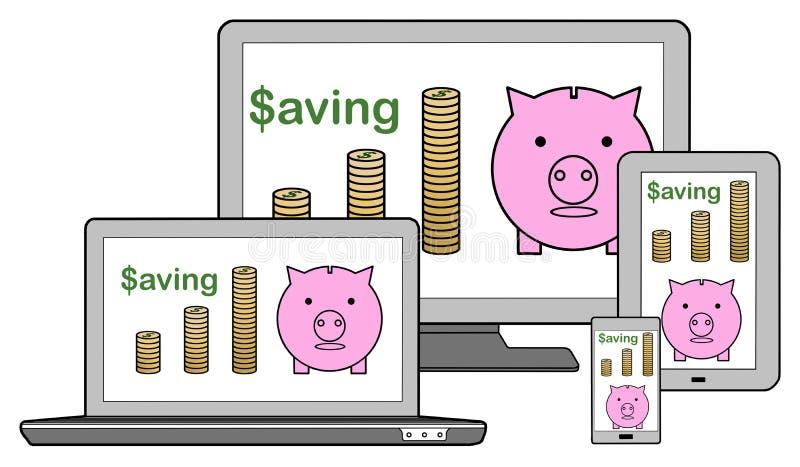 Conceito da economia em dispositivos diferentes ilustração royalty free