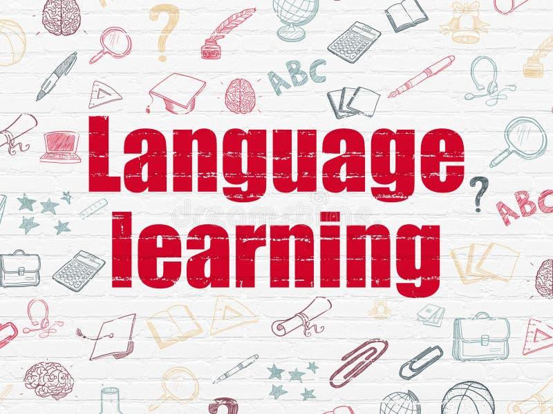 Conceito da educação: Aprendizado de línguas na parede ilustração do vetor