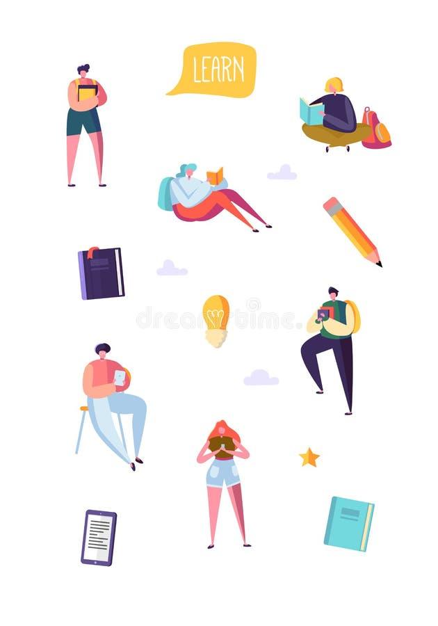 Conceito da educação com os estudantes que aprendem com livros Estudo dos caráteres do homem e da mulher Povos com livros ilustração stock