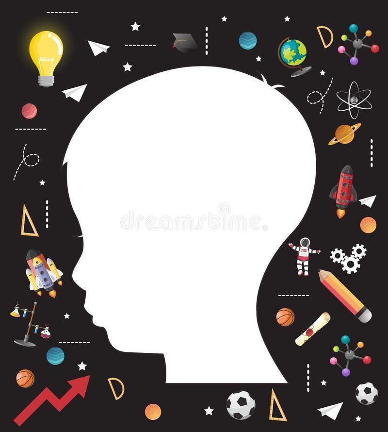 Conceito da educação das crianças a geração de conhecimento ilustração stock