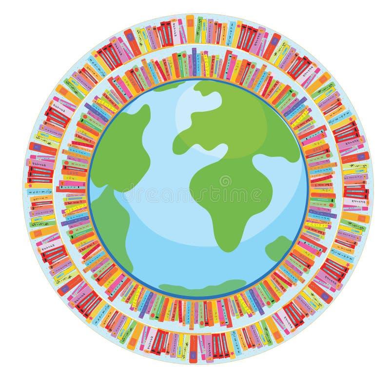 Conceito da educação do globo e do livro ilustração do vetor