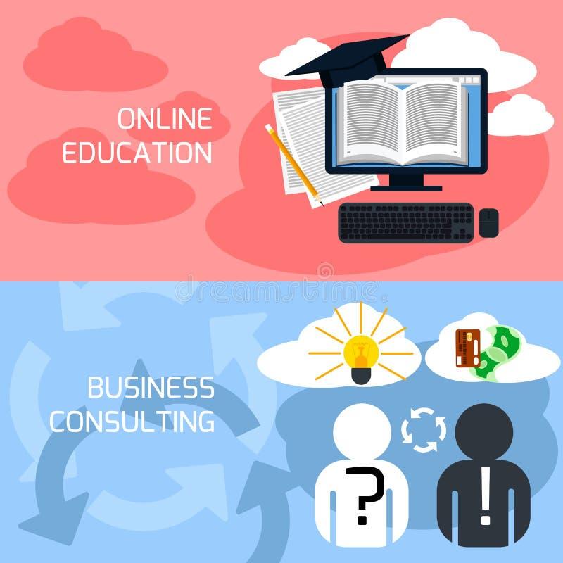 Conceito da educação em linha, consultoria empresarial ilustração do vetor
