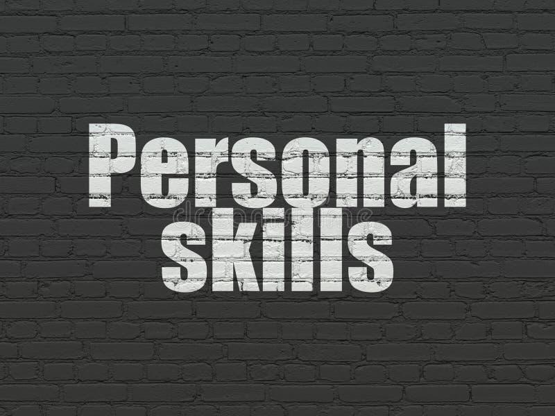 Conceito da educação: Habilidades pessoais no fundo da parede fotografia de stock royalty free