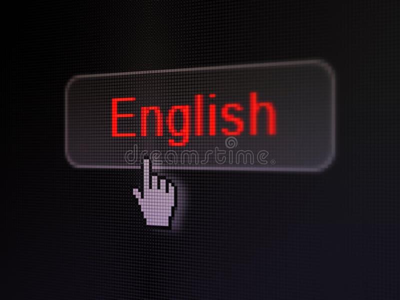Conceito da educação: Inglês no botão digital ilustração do vetor