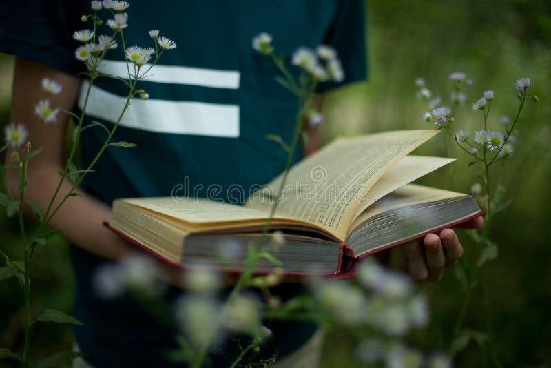 Conceito da educação - o adolescente está guardando um livro em suas mãos na natureza fotos de stock royalty free