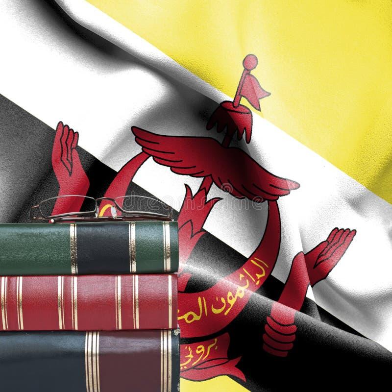 Conceito da educação - pilha de livros e de vidros de leitura contra a bandeira nacional de Brunei Darussalam fotografia de stock royalty free