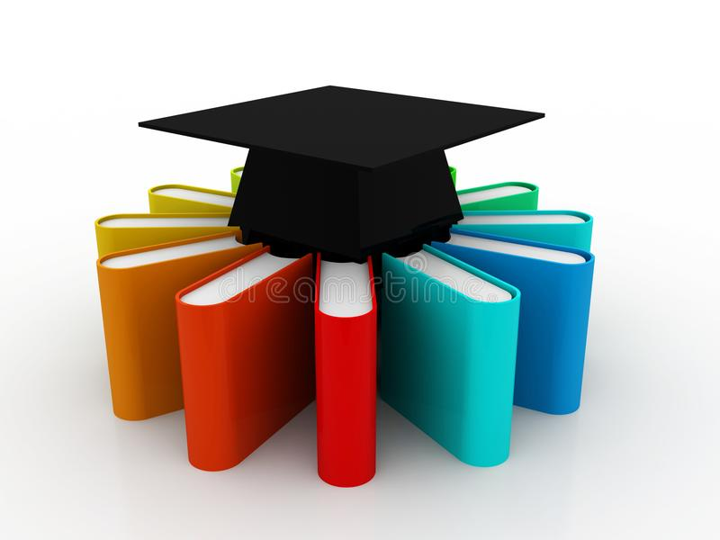 Conceito da educação, tampão da graduação e pilha de livros coloridos no fundo digital 3d rendem ilustração do vetor