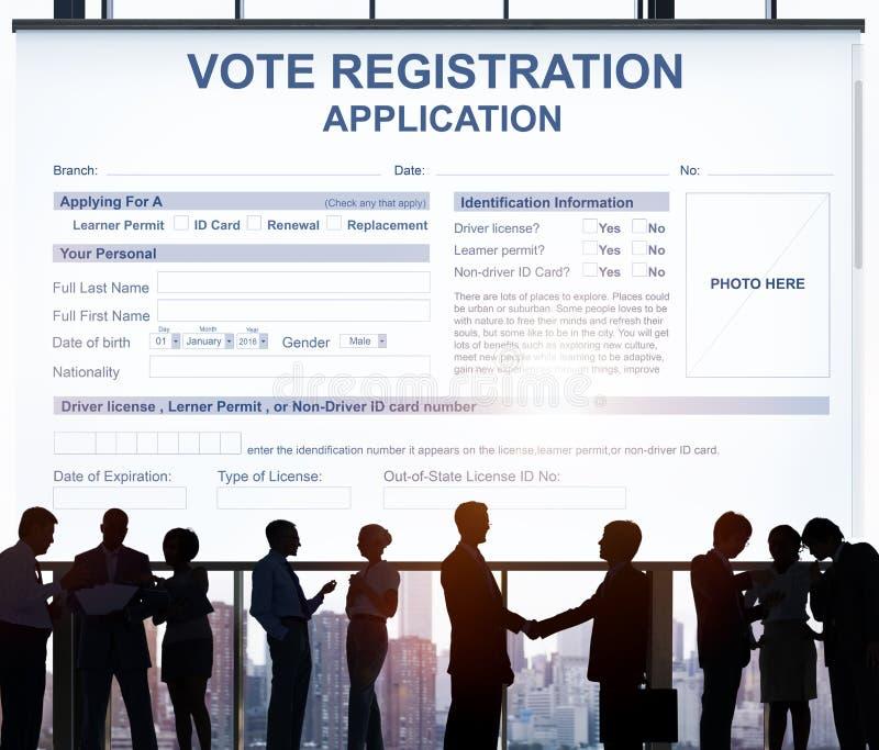 Conceito da eleição da aplicação do registro do voto fotografia de stock royalty free