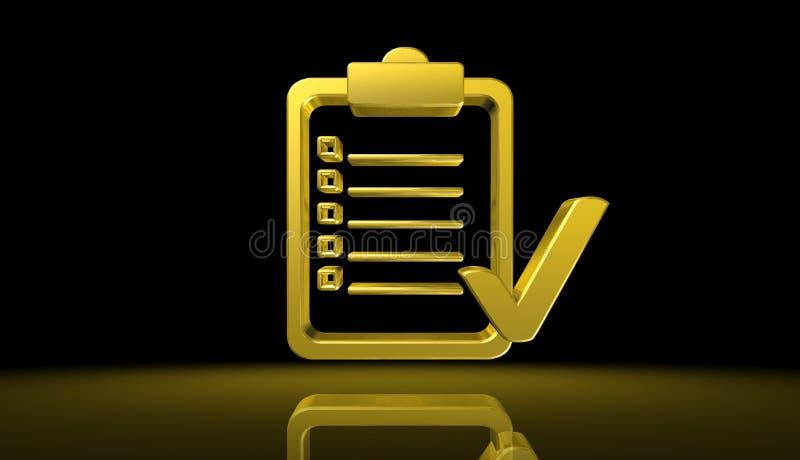 Conceito da eleição do voto do ouro com a ilustração original do caráter 3D ilustração stock