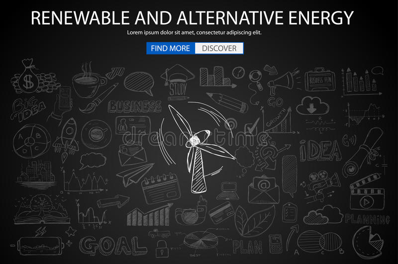 Conceito da energia renovável e alternativa com estilo do projeto da garatuja ilustração do vetor