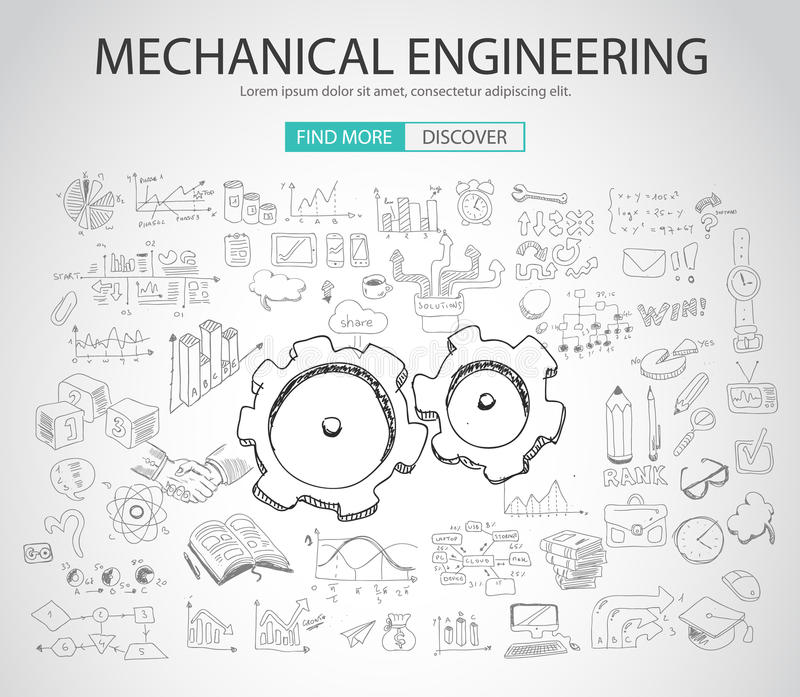 Conceito da engenharia mecânica com estilo do projeto da garatuja ilustração royalty free