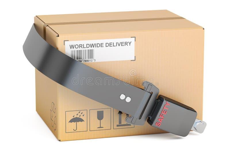 Conceito da entrega da segurança, correia de segurança com o pacote da caixa de cartão ilustração do vetor
