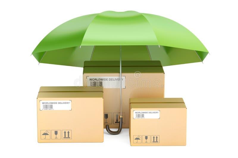 Conceito da entrega da segurança, guarda-chuva com caixas de cartão, pacotes ilustração stock