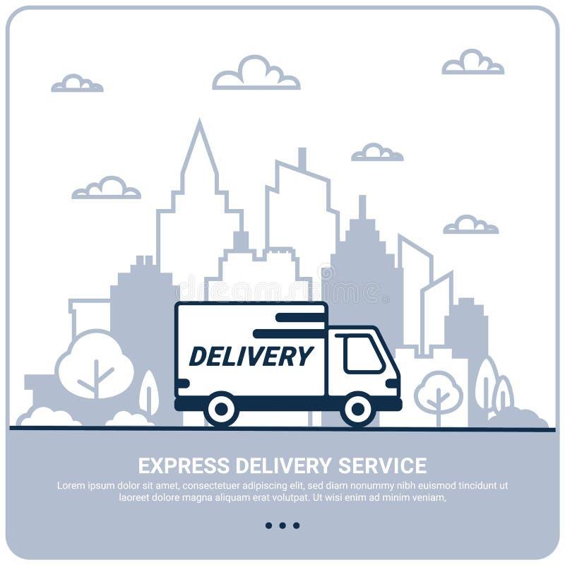 Conceito da entrega de cidade A linha fina denominou o caminhão de entrega Transporte do serviço de entrega pelo carro ou pelo ca ilustração royalty free