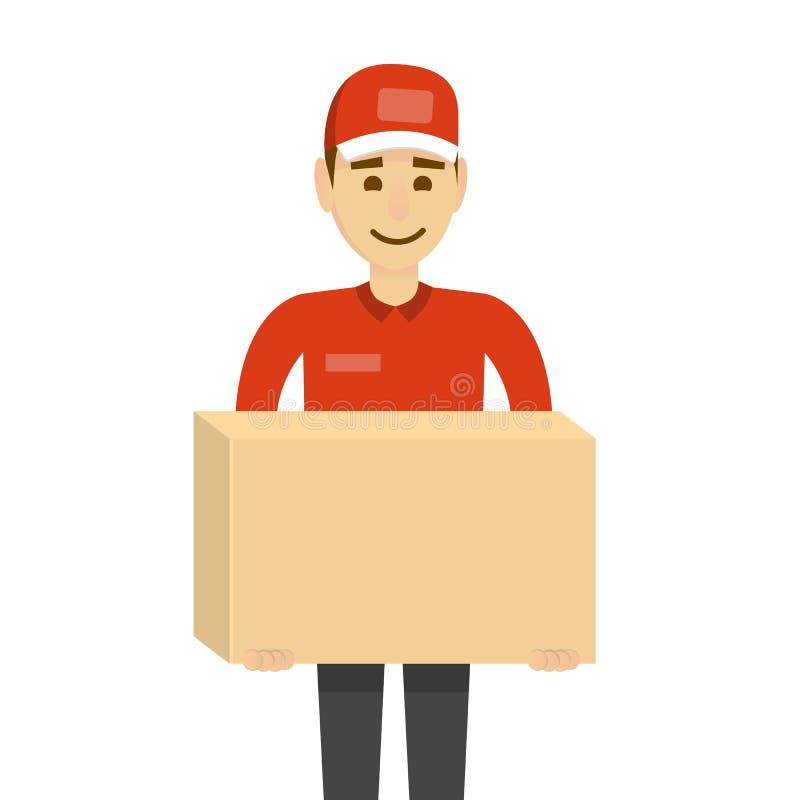 Conceito da entrega Homem engraçado do caráter isolado no branco com caixas ilustração stock