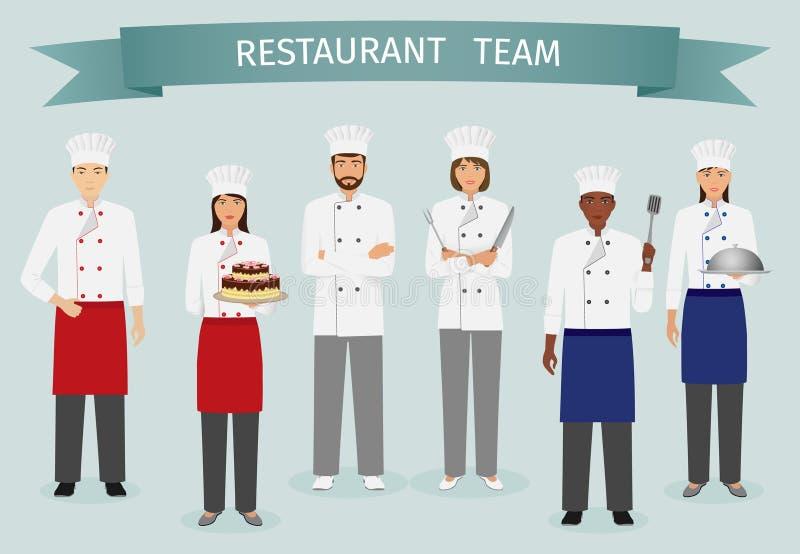 Conceito da equipe do restaurante Grupo de caráteres que estão junto Cozinheiro chefe, ilustração do vetor