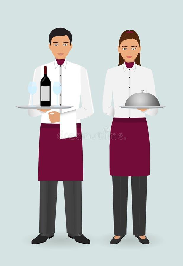 Conceito da equipe do restaurante Pares de garçom e de empregada de mesa com pratos e no suporte uniforme junto ilustração royalty free
