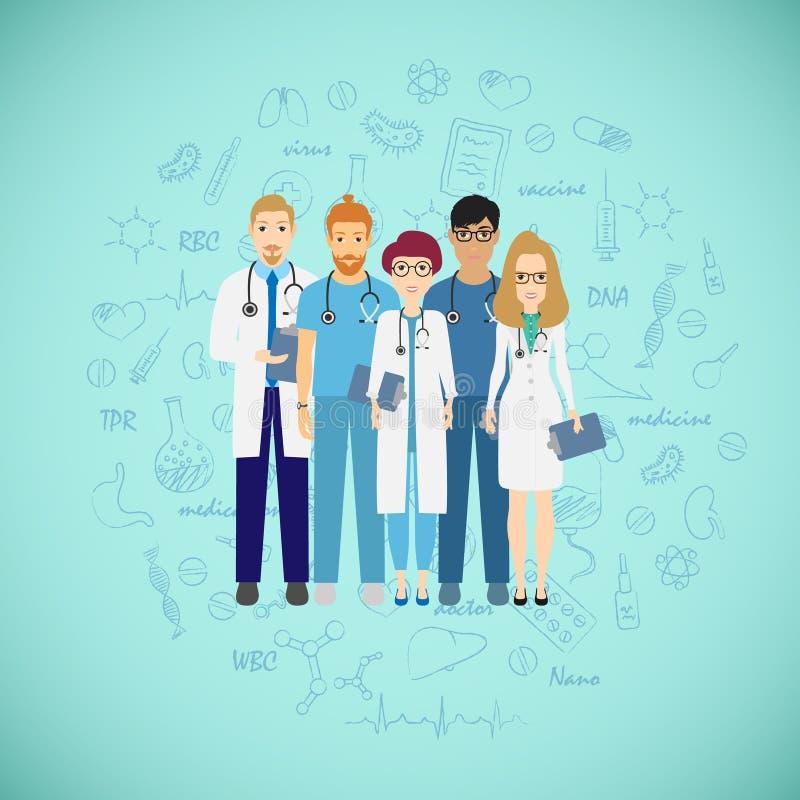 Conceito da equipe da medicina com doutores diferentes Grupo de homem novo e de mulher dos doutores do médico que estão junto ilustração stock
