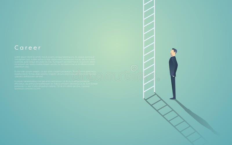 Conceito da escada da carreira do negócio com símbolo do vetor do homem de negócios Promoção incorporada do trabalho, progresso,  ilustração do vetor
