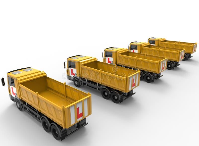 Conceito da escola de condução da frota de caminhões ilustração do vetor