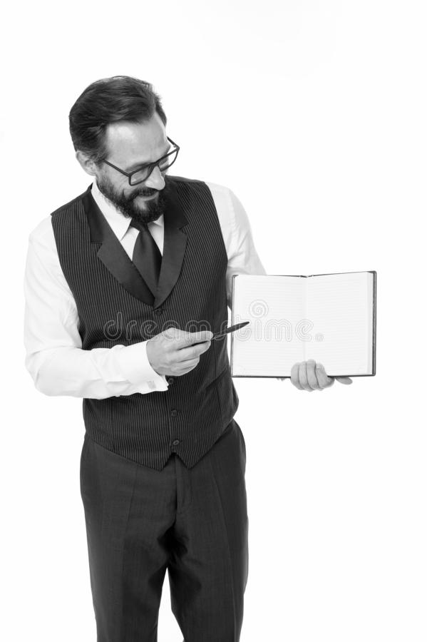 Conceito da escola de negócios Professor esperto dos monóculos peritos A conferência de negócio do orador isolou branco Junte-se  imagens de stock