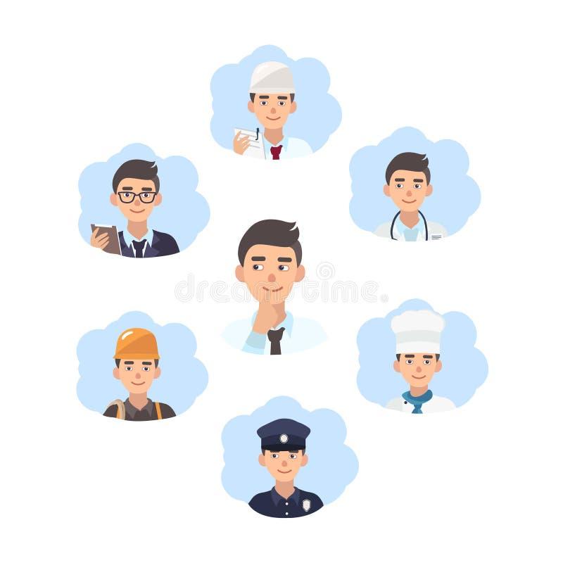 Conceito da escolha da carreira O indivíduo novo escolhe uma profissão Ilustração no estilo liso ilustração royalty free