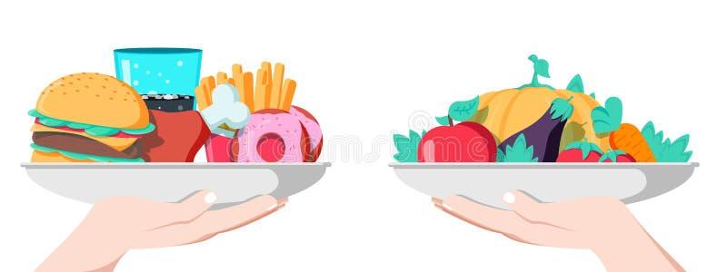 Conceito da escolha do alimento Duas mãos com os legumes saudáveis e frescos e fast food insalubre da sucata ilustração stock