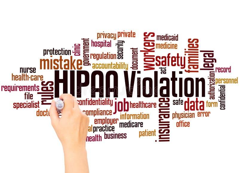 Conceito da escrita da mão da nuvem da palavra da violação de HIPAA fotografia de stock