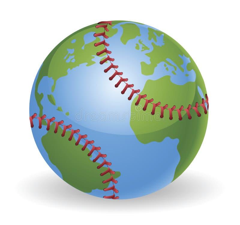 Conceito da esfera do basebol do globo do mundo ilustração do vetor
