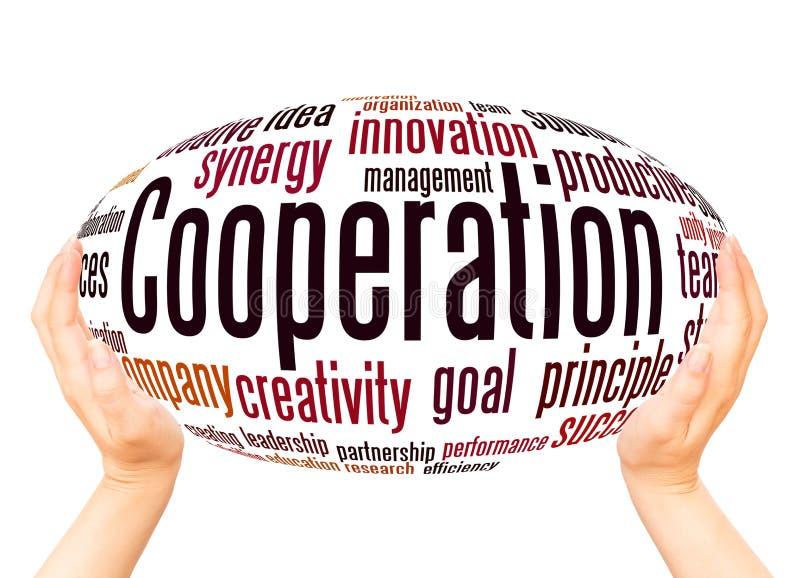 Conceito da esfera da mão da nuvem da palavra da cooperação ilustração do vetor