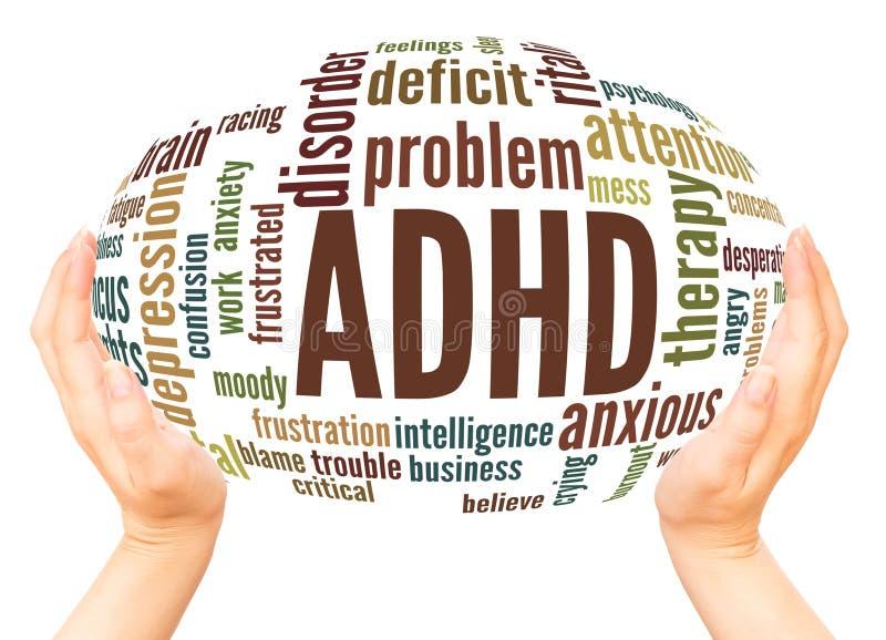 Conceito da esfera da mão da nuvem da palavra de ADHD imagens de stock royalty free