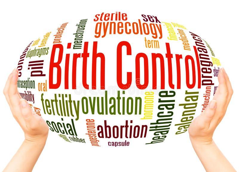 Conceito da esfera da mão da nuvem da palavra do controlo da natalidade imagens de stock