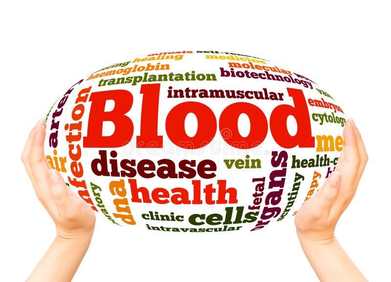 Conceito da esfera da mão da nuvem da palavra do sangue fotografia de stock