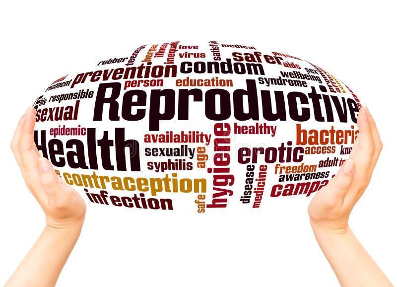 Conceito da esfera da mão da nuvem da palavra da saúde reprodutiva imagem de stock