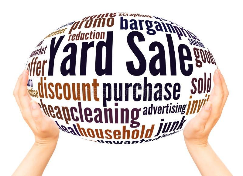 Conceito da esfera da mão da nuvem da palavra da venda de jardim imagem de stock royalty free