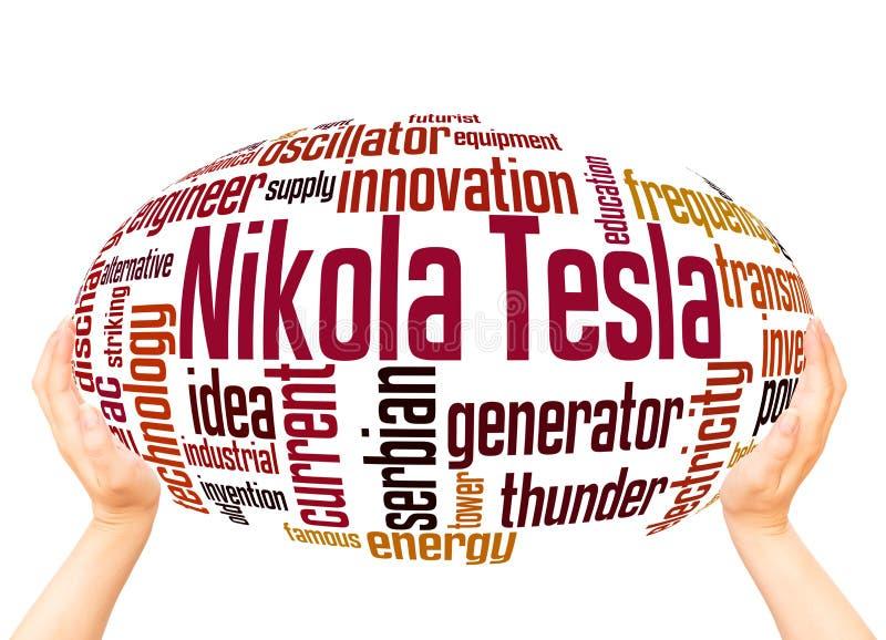 Conceito da esfera da nuvem da palavra de Nikola Tesla ilustração stock