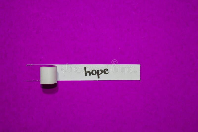 Conceito da esperança, da inspiração, da motivação e do negócio no papel rasgado roxo fotos de stock royalty free