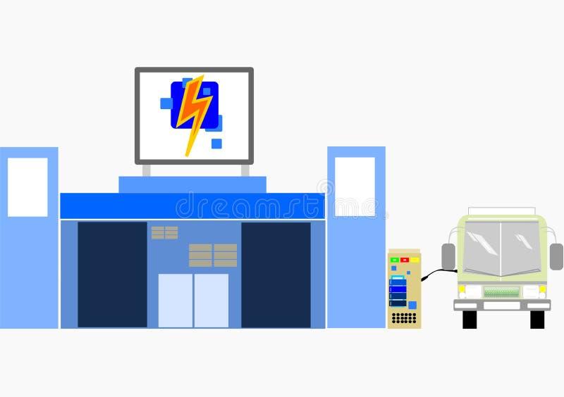 Conceito da estação comercial da carga para o transporte Negócio do ônibus da energia elétrica ilustração do vetor