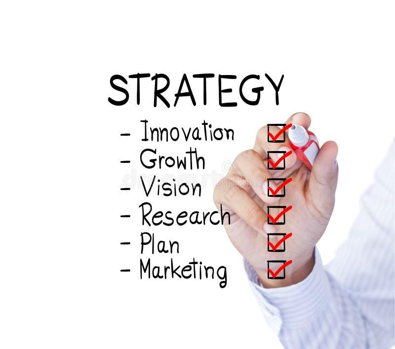Conceito da estratégia da escrita do homem de negócios imagem de stock royalty free