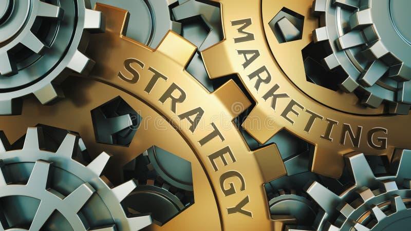 Conceito da estratégia de marketing Ouro e ilustração de prata do fundo do weel da engrenagem 3d rendem ilustração stock