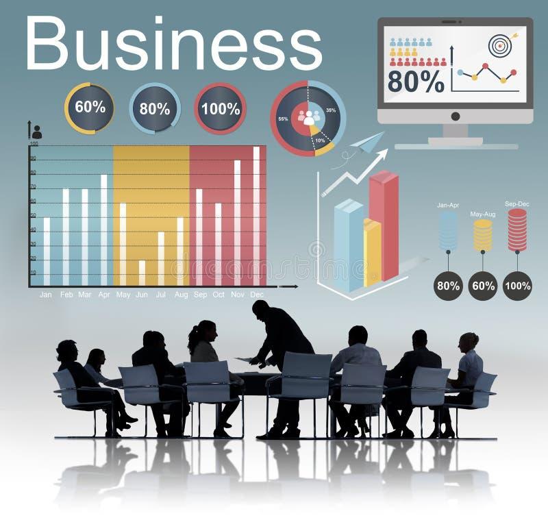 Conceito da estratégia dos dados das estatísticas de negócio da analítica foto de stock