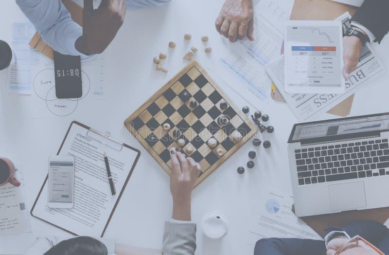 Conceito da estratégia empresarial do jogo de xadrez fotos de stock