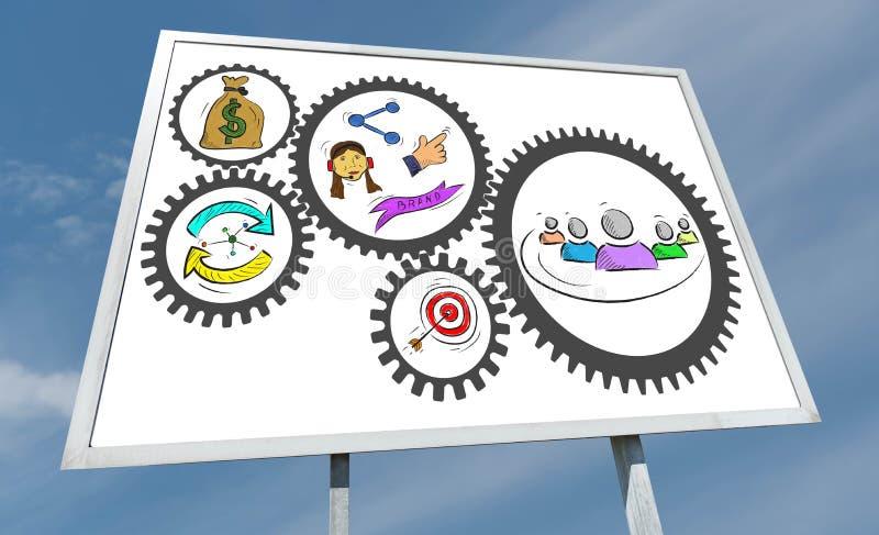 Conceito da estratégia empresarial em um quadro de avisos imagens de stock