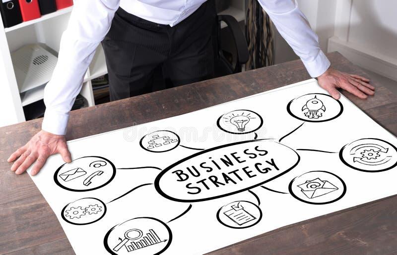 Conceito da estratégia empresarial em uma mesa imagem de stock