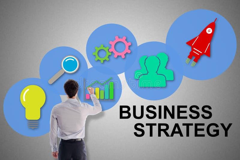 Conceito da estratégia empresarial tirado por um homem imagens de stock royalty free